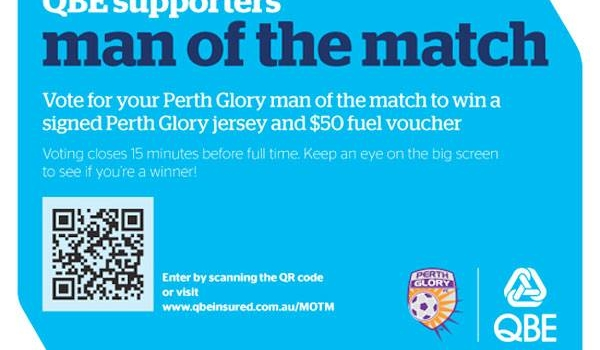 Fan Engagement Idea #3: Perth Glory Mobile QR Code Man of the Match Voting