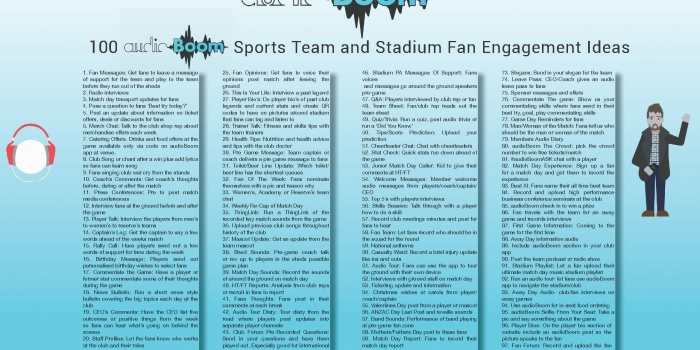 100 audioBoom Sports Team and Stadium Fan Engagement Ideas