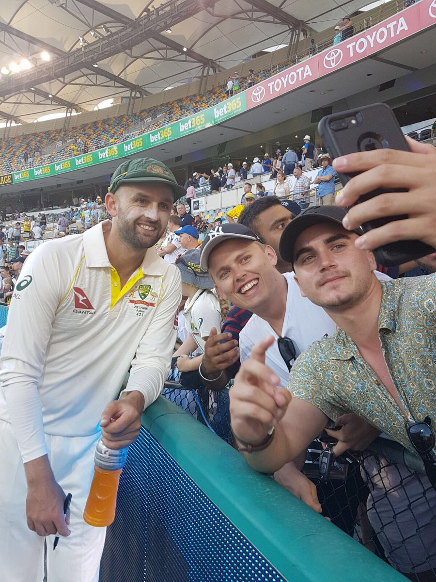 Australian cricket team engaging with fans