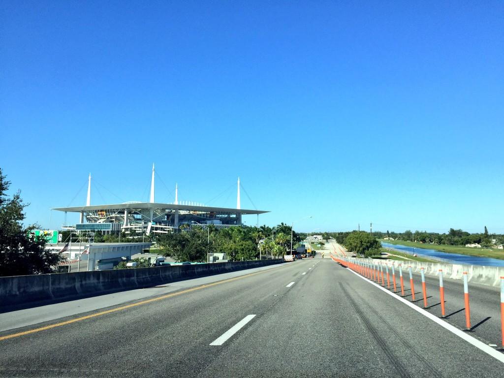 Driving into the stadium