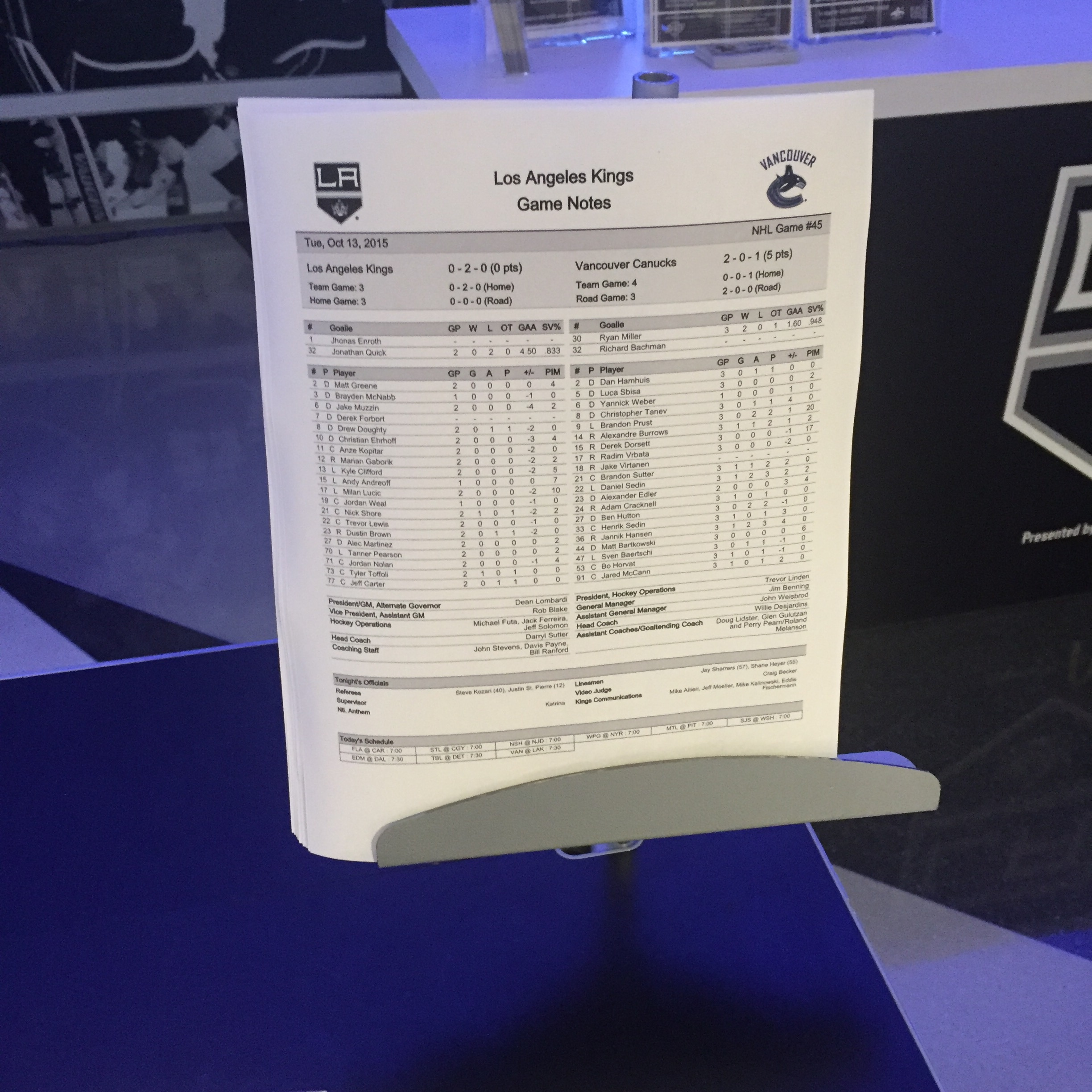 LA Kings Game Day Notes