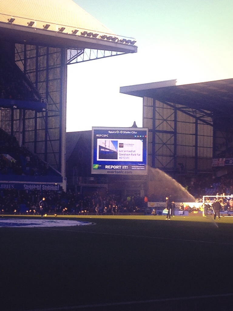 Everton using Tagboard and my tweet up on the screen