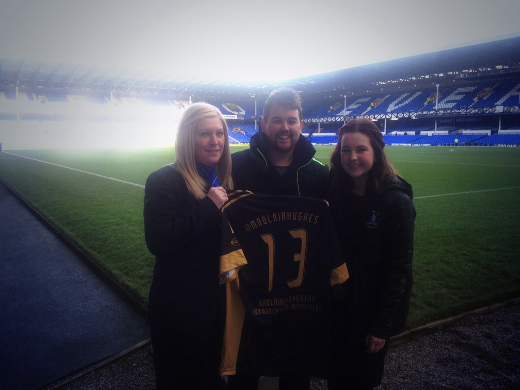 With Michelle and Christine at Goodison Park