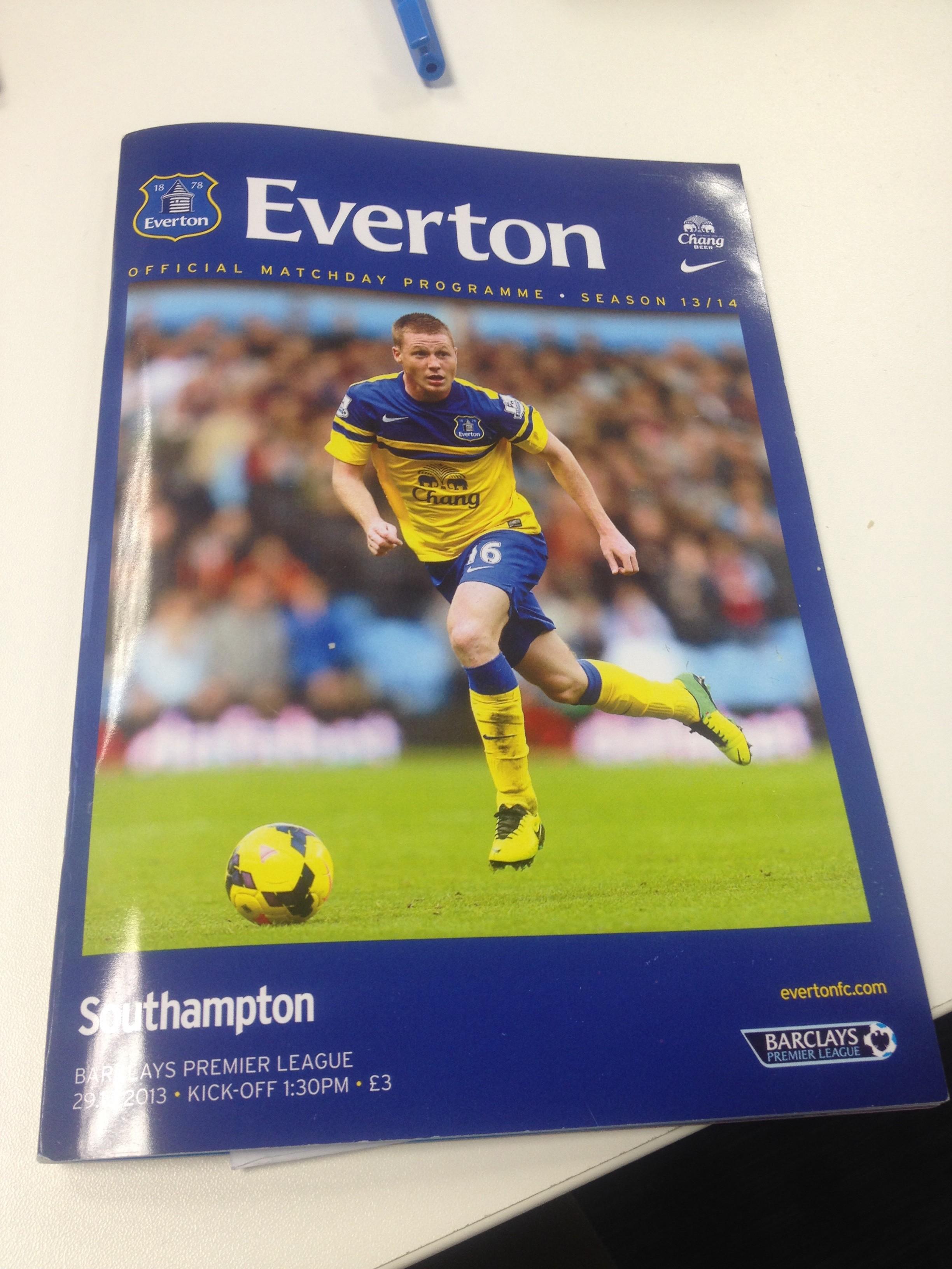 Everton Vs Southampton match program