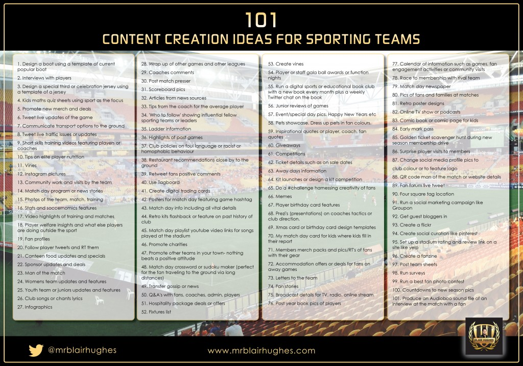 101 Content Creation Ideas for Sporting Teams