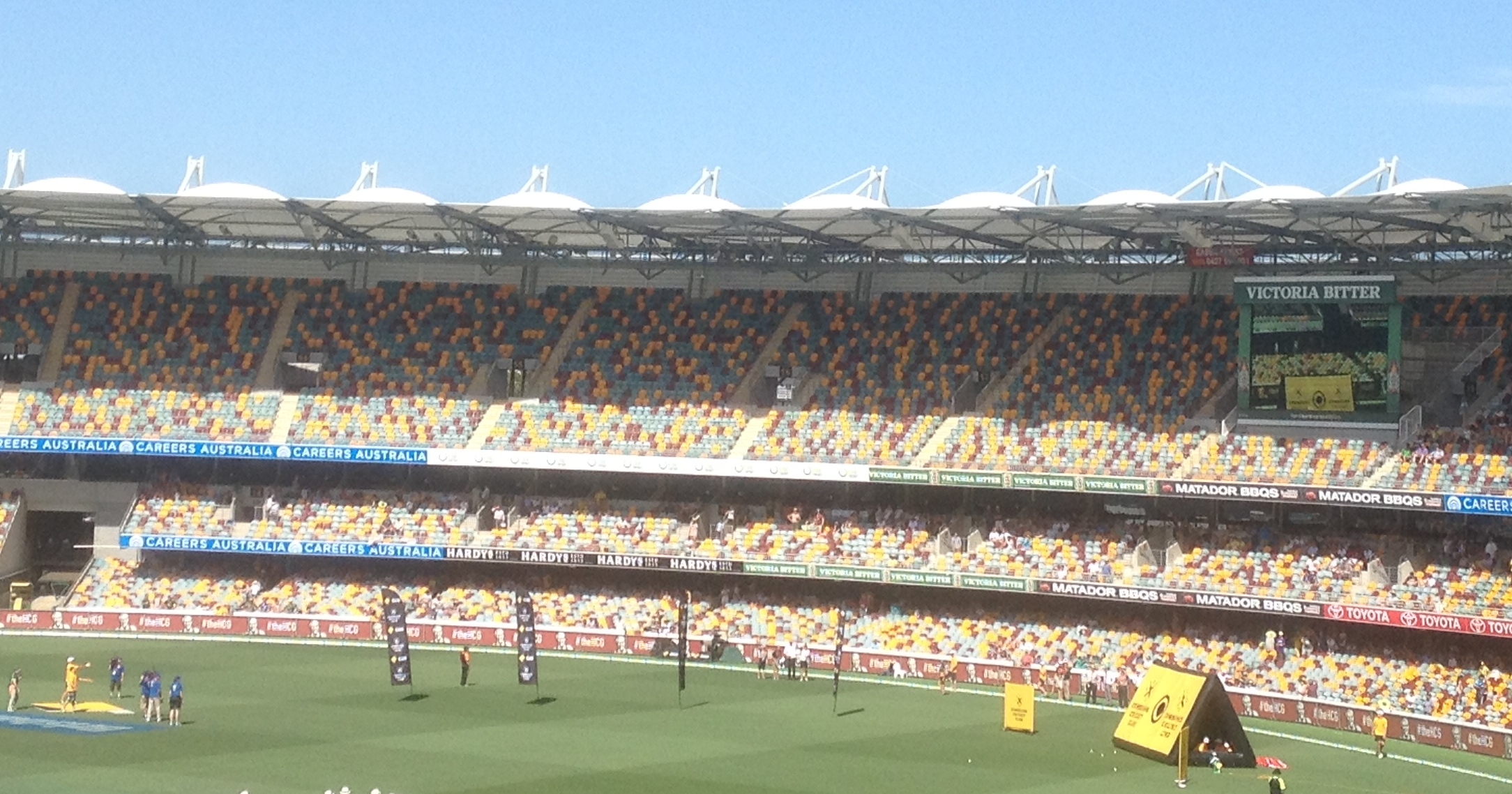 On field competition at the Gabba