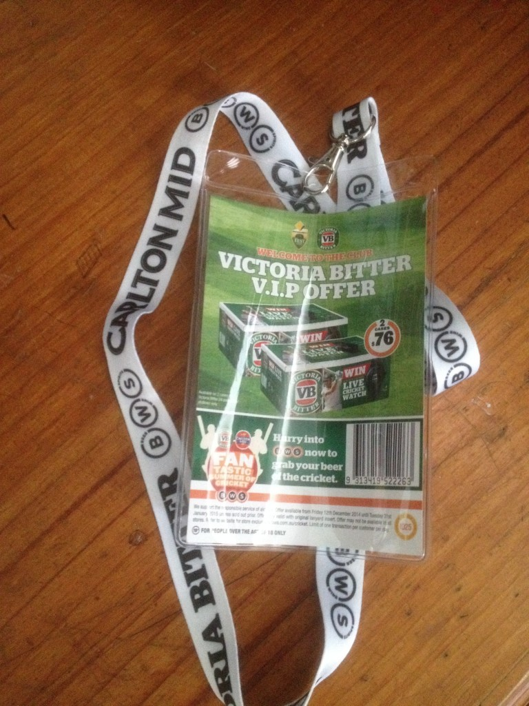 Beer sponsor deals with lanyard at the gates to each match
