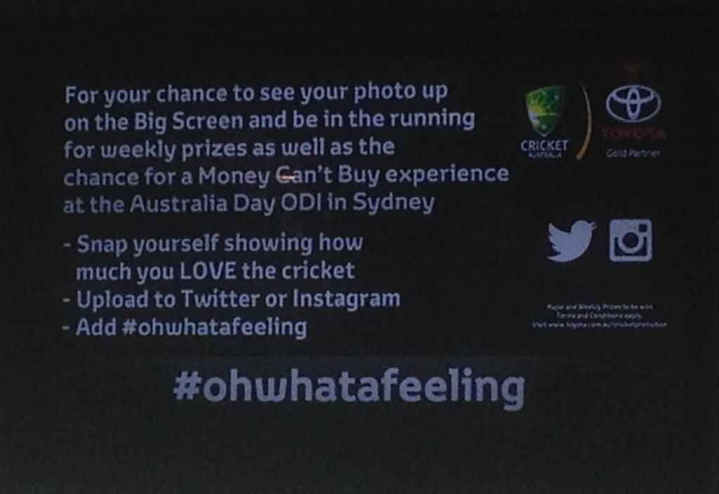 The #ohwhatafeeling social media fun at each ground