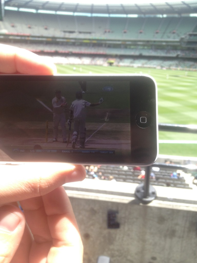 Watching Day 5 of the MCG test on the Cricket Australia LIVE app