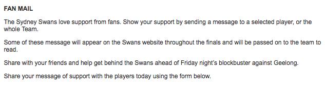Swans Fan Letters